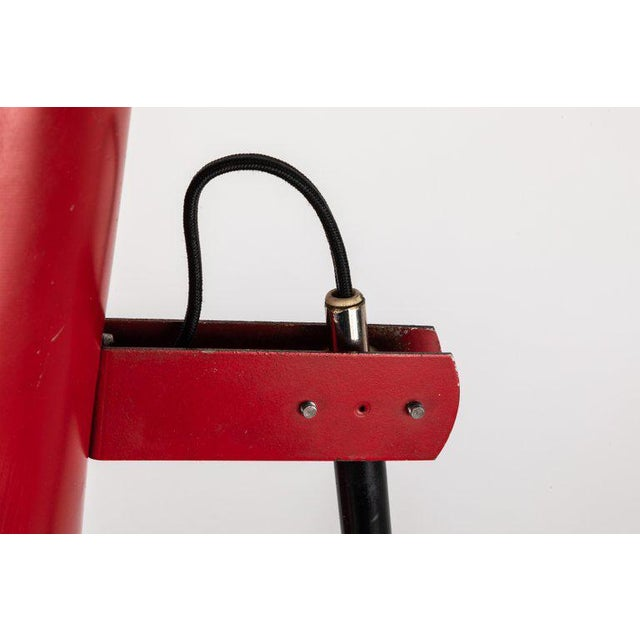 Black 1950s Yki Nummi Red Table Lamp for Orno For Sale - Image 8 of 13
