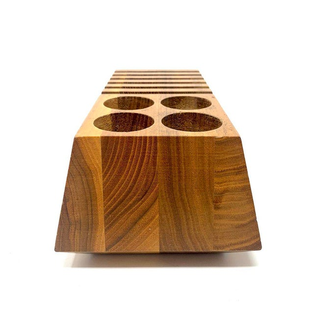Brown Mid-Century Modern Geometric Wooden Desk Organizer For Sale - Image 8 of 13