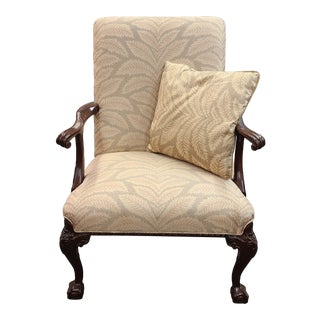 Vintage Chippendale Style Mahogany Arm Chair with Pillow For Sale