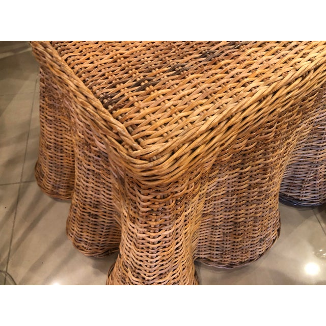 Wicker Vintage Palm Beach Tropical Trompe l'Oeil Wicker Draped Coffee Table For Sale - Image 7 of 13