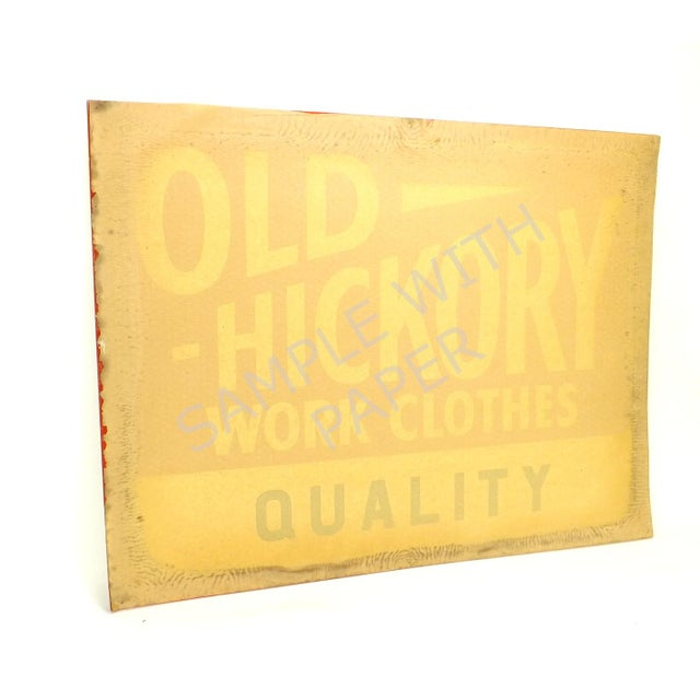 1950s 1950's Vintage Nos Old Hickory Workwear Sign For Sale - Image 5 of 8