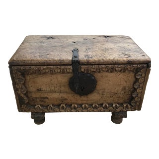 Early 20th Century Carved Wooden Trunk on Stand For Sale