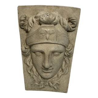 1940s Vintage Neoclassical Regency Style Concrete Keystone Statue For Sale