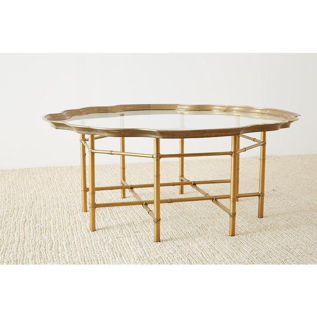 Hollywood Regency Baker Brass and Glass Tray Top Coffee Cocktail Table For Sale - Image 3 of 13