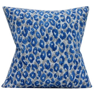 Leopard Print Blue Outdoor Pillow Cover For Sale