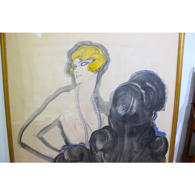 """Antique 1926 Multimedia Poster by Jean Gabriel Domerge """"Alice Soulie"""" Watercolor Gouache Charcoal on Paper With Christie's Coa For Sale In West Palm - Image 6 of 13"""