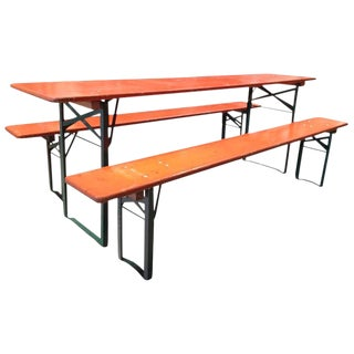 5 Sets of German Beer Garden Tables and Benches For Sale