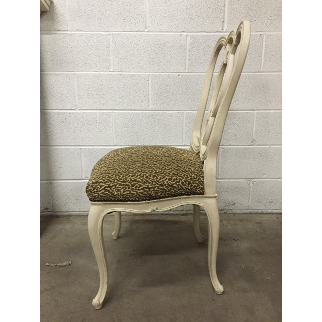 Vintage Cream Wood Ribbon-Back Dining Side Chairs With Upholstered Seat - a Pair - Image 6 of 9
