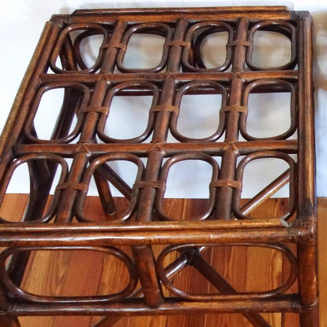 Vintage Rattan Side Table With Glass Top For Sale - Image 6 of 6