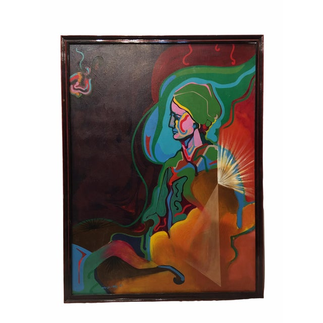 Vintage Mid-Century Colorful Figurative Abstract Oil on Canvas Portrait Painting For Sale - Image 12 of 12