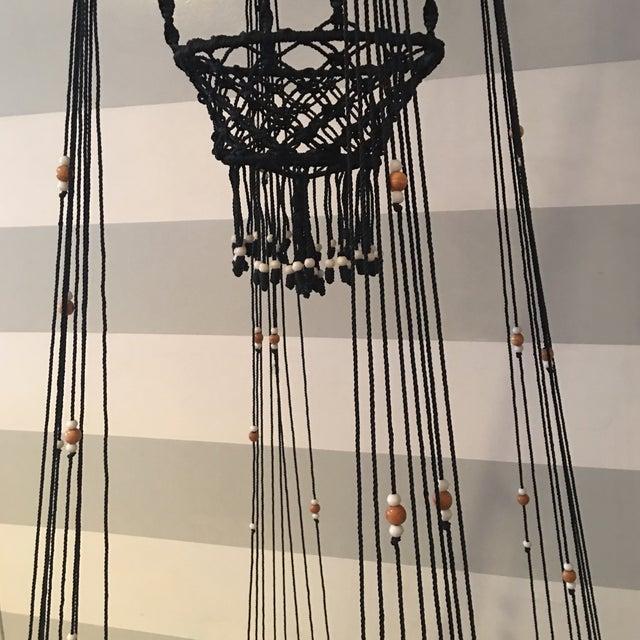 Vintage Bohemian Beaded Macrame Hanging w/ Baskets - Image 7 of 11