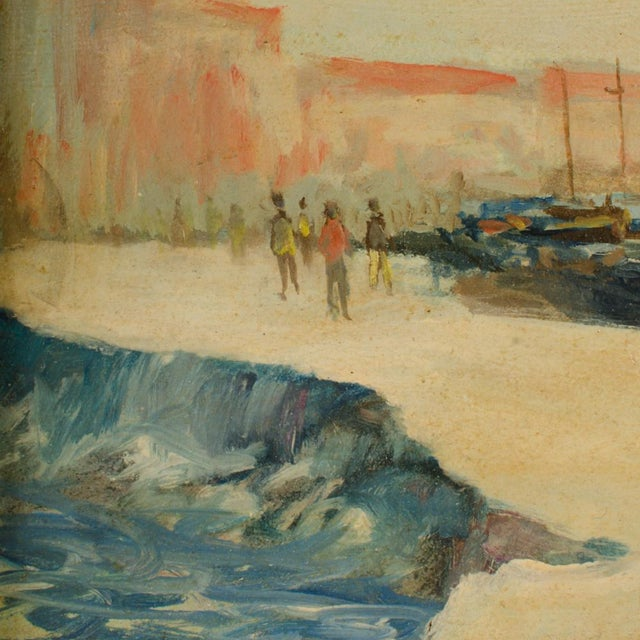 White Early 20th Century Harbor Scene Oil Painting by William Fraser, Framed For Sale - Image 8 of 10