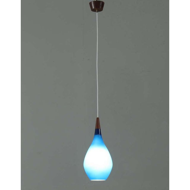 Large Sapphire Blue Glass Drop Shaped Holmegaard Pendant. Denmark, 1950s - Image 2 of 5