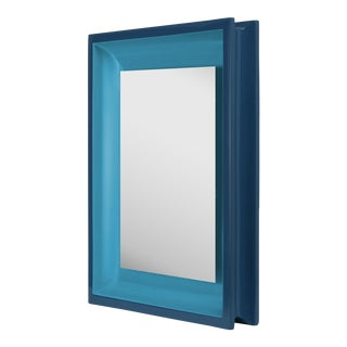 Jeffrey Bilhuber Collection Small Rectangular Floating Mirror in Teal / Horizon Blue For Sale