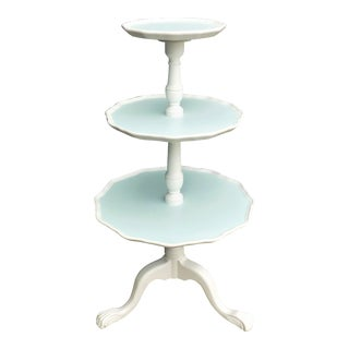 French Country Chic 3 Tier Painted Pie Crust Table For Sale