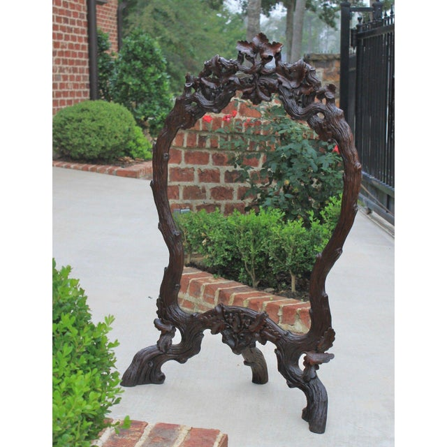 Antique French Oak Black Forest Framed Wall or Easel Standing Mirror Firescreen For Sale - Image 13 of 13