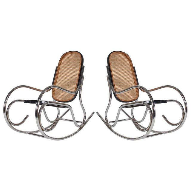 1970s Mid-Century Scrolled Chrome and Cane Rocking Chairs - a Pair For Sale - Image 10 of 10