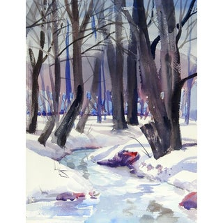 Winter Forest Watercolor Painting For Sale