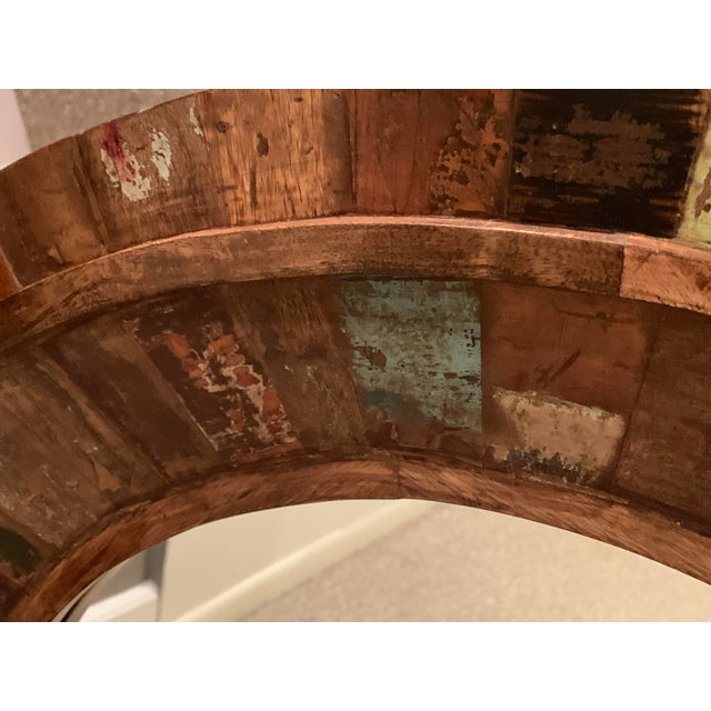 Rustic Reclaimed Wood Round Mirror For Sale - Image 4 of 9