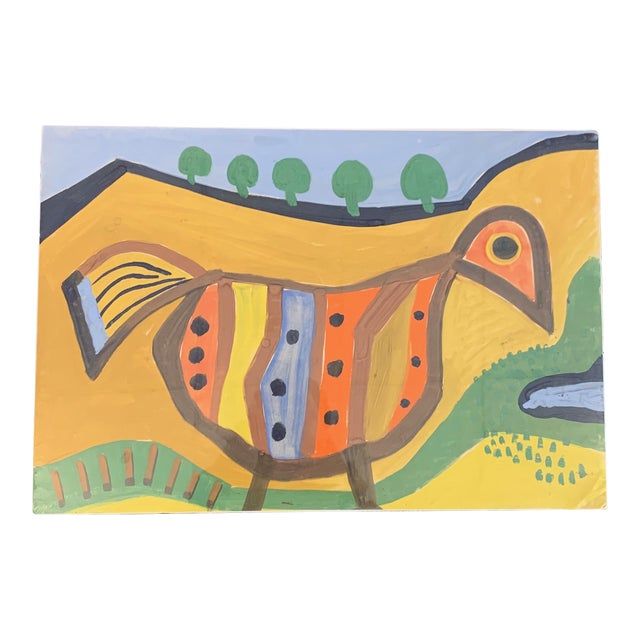 1964 G. L. Long Orange Abstract Acrylic Bird / Animal Painting For Sale