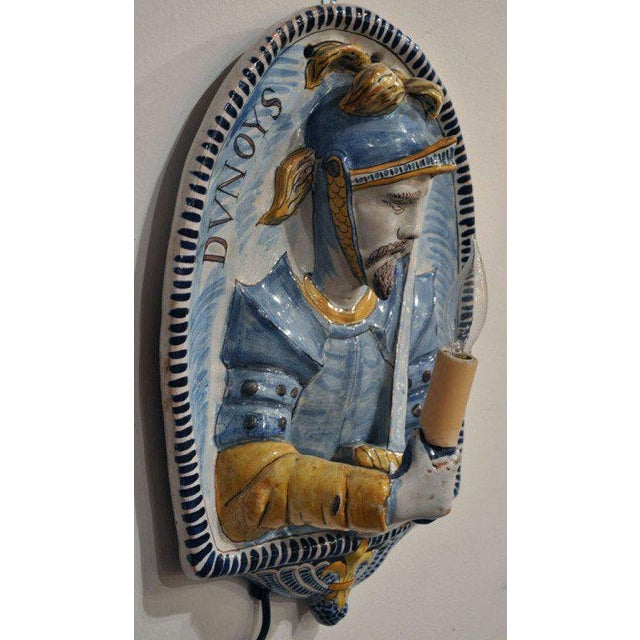 19th Century French Joan of Arc & Duc d'Orleans Faience Sconces - A Pair For Sale - Image 4 of 10