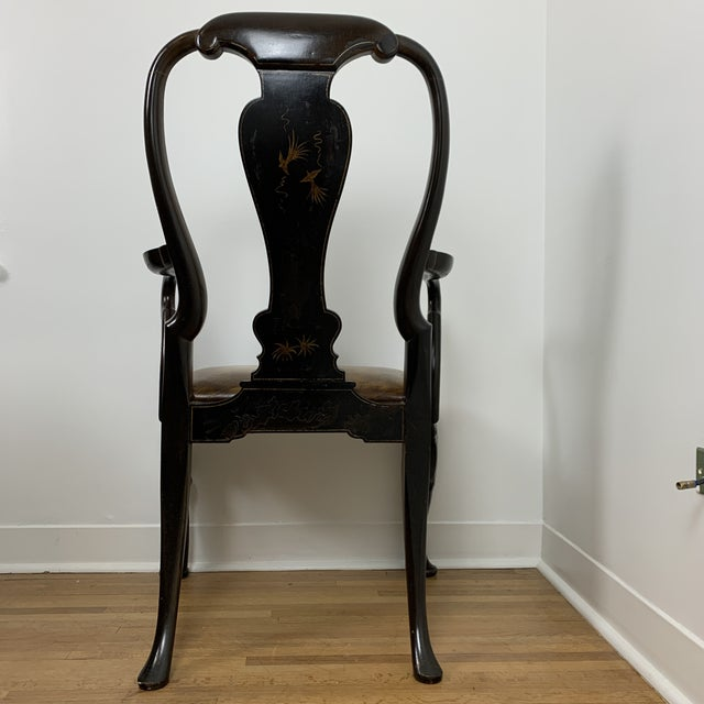 Leather Black Japanned Chinoiserie Queen Anne Arm Chair For Sale - Image 7 of 13