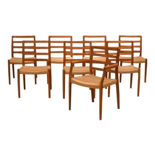 Vintage Mid Century Moller Model 85 Danish Teak Dining Chairs- Set of 8 For Sale
