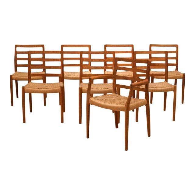 Vintage Mid Century Moller Model 85 Danish Teak Dining Chairs- Set of 8 For Sale