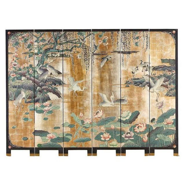 Chinese Export Gilt Coromandel Screen Crane Landscape For Sale - Image 13 of 13