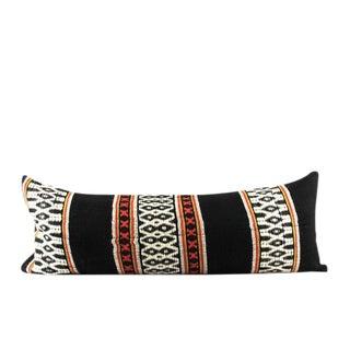 "Woven Black Wool Peruvian Pillow 13"" x 34"" For Sale"