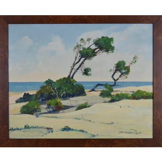 Framed Windswept Beach Scene Painting by George Wallace Olson For Sale