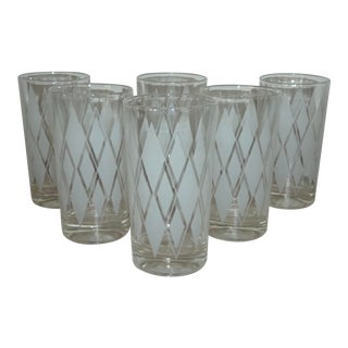 Vintage Mid-Century Argyle Cocktail Glasses - Set of 6 For Sale