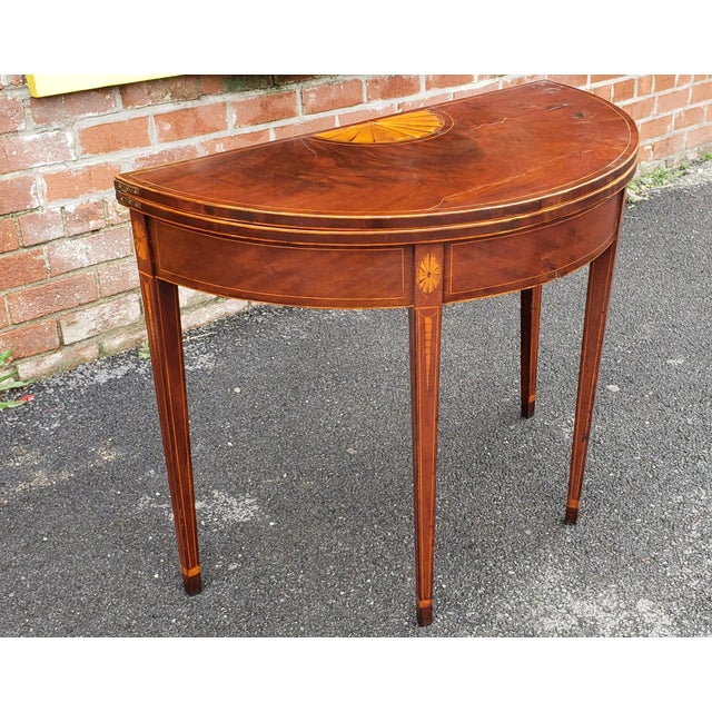 Red American Federal Inlaid & Figured Mahogany Demilune Games Table Rhode Island or Connecticut C1795 For Sale - Image 8 of 13
