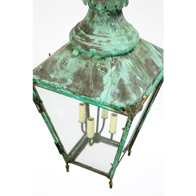 Glass Large Green Patina Lantern For Sale - Image 7 of 9