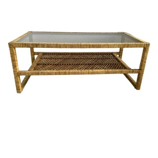 Vintage Bielecky Brothers Rattan Coffee Table For Sale