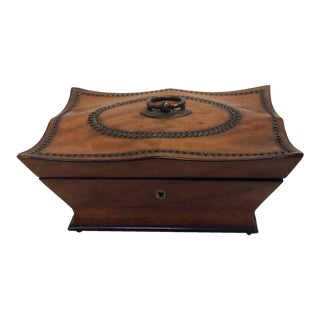 Antique Box With Tack Work Decorations For Sale