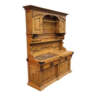 Very Fine 20th Century Pine French Boucherie Butchers Shop Dining Room Cupboard Cabinet For Sale