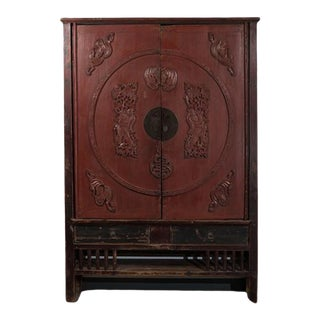 Antique Chinese Carved and Painted Armoire For Sale