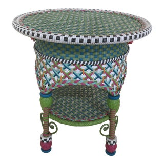 Mackenzie Childs Round Rattan Occasional Table For Sale