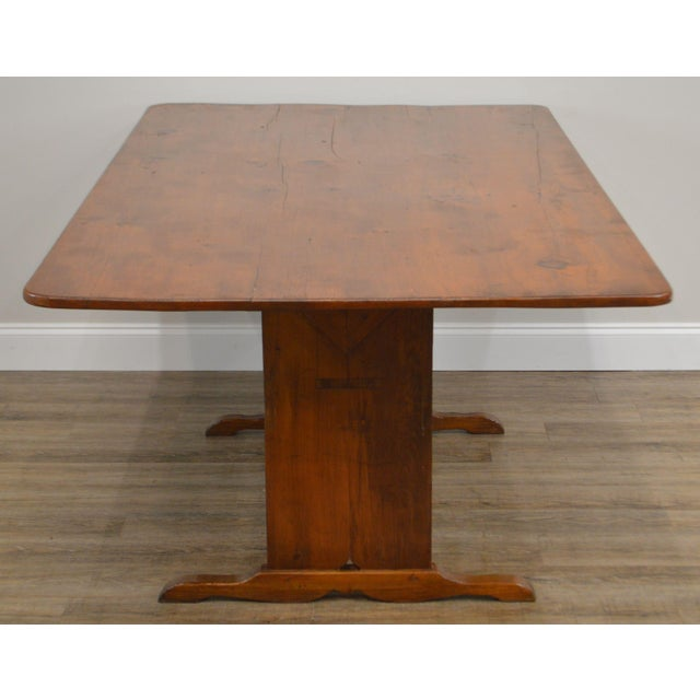 Farmhouse Pine Trestle Base Tilt Top Dining Table For Sale - Image 4 of 13
