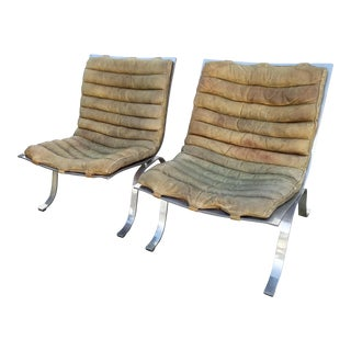 1960s Industrial Arne Norell Ariet Leather & Chrome Lounge Chairs - a Pair