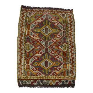 Small Vintage Embroidered Kilim Rug - 3′1″ × 4′3″ For Sale