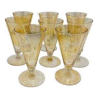 Set Antique Gold Lusterware Goblets For Sale