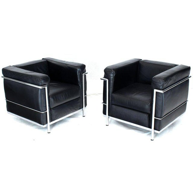 Mid-Century Modern Licensed Le Corbusier Club Chairs and Matching Lc2 Sofa Set- 3 Pieces For Sale - Image 3 of 12