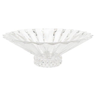 Mid-Century Modern Crystal Geometric Design Centerpiece Bowl by Rosenthal For Sale