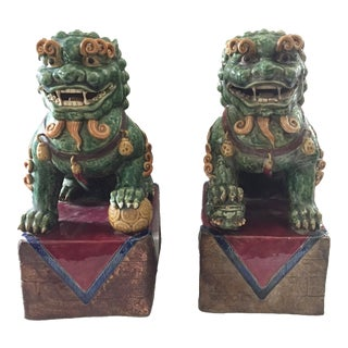Lg Colorful Foo Dogs - a Pair