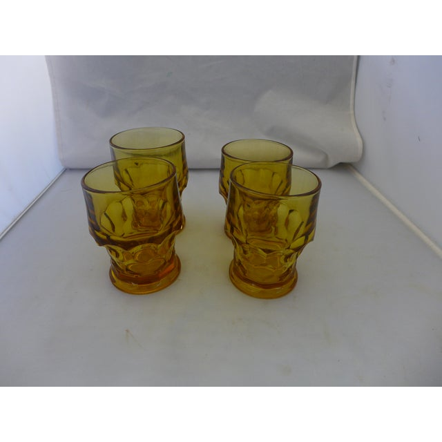 Mid-Century Modern Mid-Century Modern Amber Bar Glasses - Set of 4 For Sale - Image 3 of 6