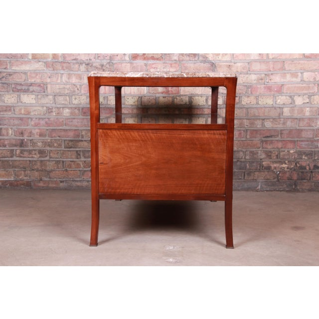 Baker Furniture Modern Mahogany Marble Top Buffet Server For Sale - Image 10 of 13