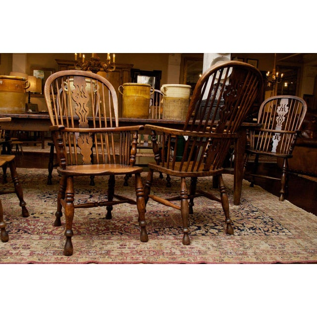 Wood Set of Eight High-back Windsor Armchairs, English circa 1850 For Sale - Image 7 of 10