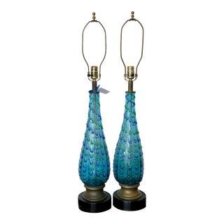 Mid Century Modern Murano Italian Art Glass Table Lamps For Sale